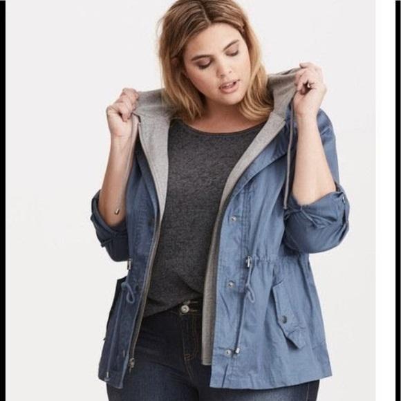 bd9636373134a6 torrid Jackets & Coats | Hooded Anorak Jacket Blue 1 | Poshmark